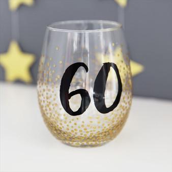 60th Birthday Stemless Wine Glass