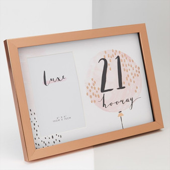 21st Birthday Luxe Rose Gold Wooden Frame