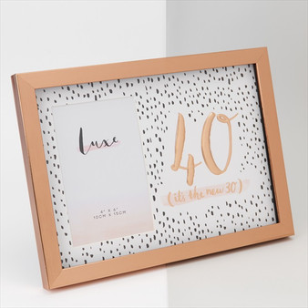 40th Birthday Luxe Rose Gold Wooden Frame