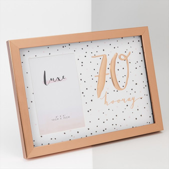 70th Birthday Luxe Rose Gold Wooden Frame