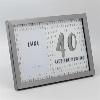 40th Birthday Gun Metal Wooden Frame