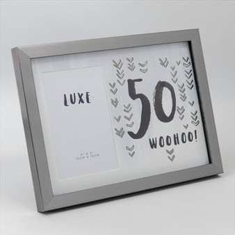 50th Birthday Gun Metal Wooden Frame