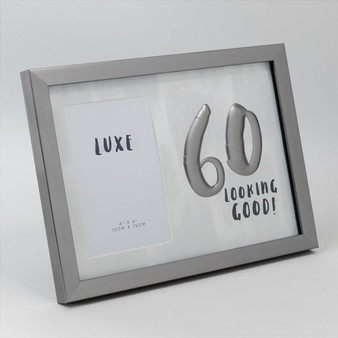 60th Birthday Gun Metal Wooden Frame