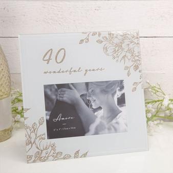 40 Wonderful Years Pale Grey Glass Gold Frame