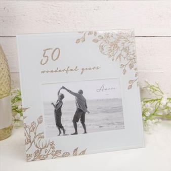 50 Wonderful Years Pale Grey Glass Gold Frame