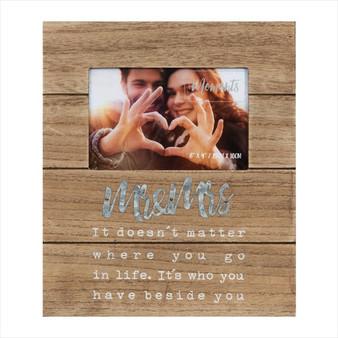 Mr & Mrs Natural Wood Photo Frame