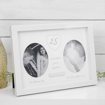 25th Silver Anniversary Double Frame with Engraving Plate