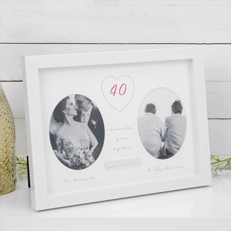 40th Ruby Anniversary Double Frame with Engraving Plate
