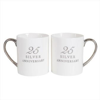 25th Silver Anniversary Pair of Bone China Mugs