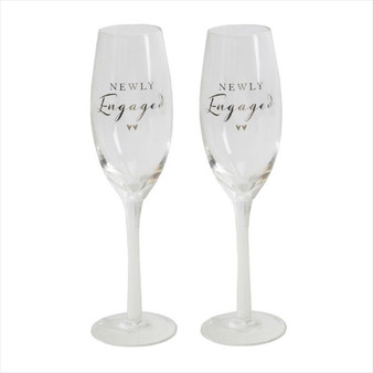 Engagement Pair of Champagne Flutes