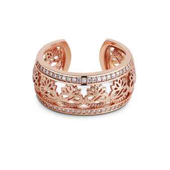 Rose Goldplate Ring Clear Stones