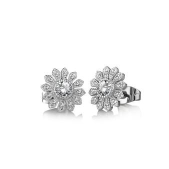 Flower Earrings Clear Stone