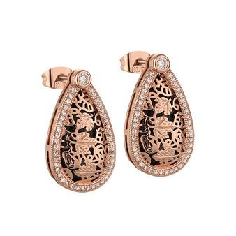 Guinness Rose Gold Blk Earrings