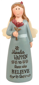 Resin 4 inch Message Angel/Miracles Happen