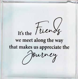 Glass Block Paperweight/Friends we meet