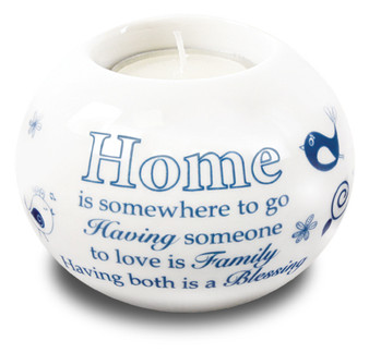 Porcelain Candle Holder/Home Blessing
