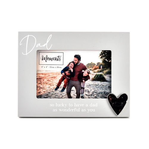 """Moments Wooden Photo Frame with Heart 6"""" x 4"""" - Dad"""
