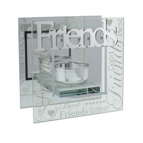 Celebrations Mirrored Glass Friends Tealight Holder