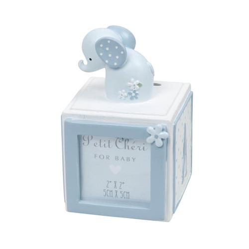 Petit Cheri Elephant Letter Cube Money Box with Frame - Blue