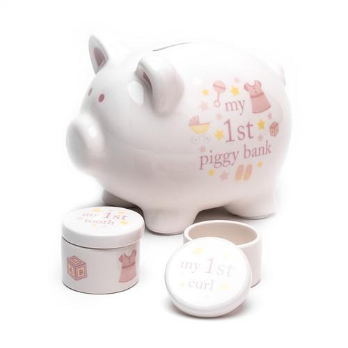 Hello Baby Piggy Bank Set 'Baby Girl'