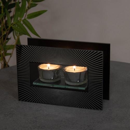HESTIA������ Black Glass Starburst Double Tealight Holder