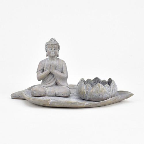 Juliana Buddha Meditiating with Lotus Flower Tealight Holder