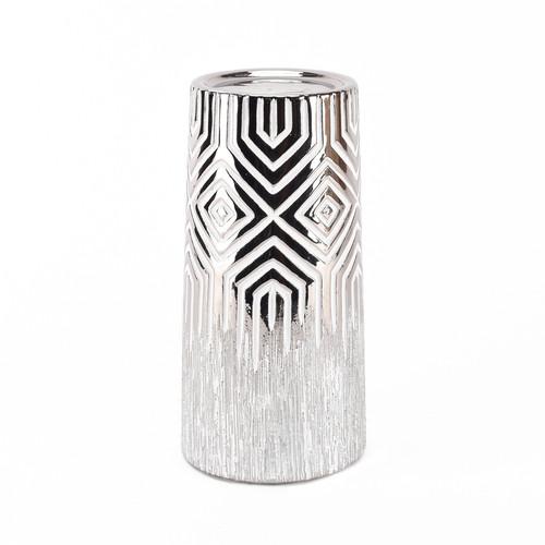 HESTIA������ Silver & White Geometric Candle Holder