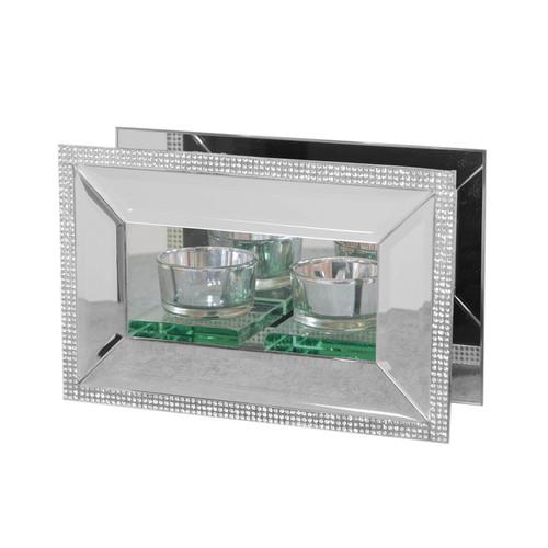 HESTIA® Mirror Glass & Crystal Double Tealight Holder