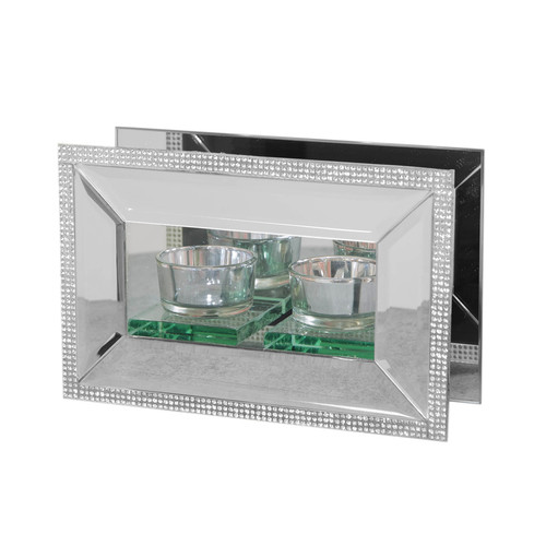 HESTIA������ Mirror Glass & Crystal Double Tealight Holder