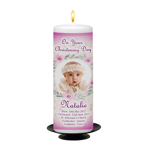 Teddy and Bench Personalised Christening Candle_front
