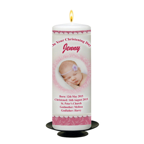 Baby Pram Personalised Christening Candle_back