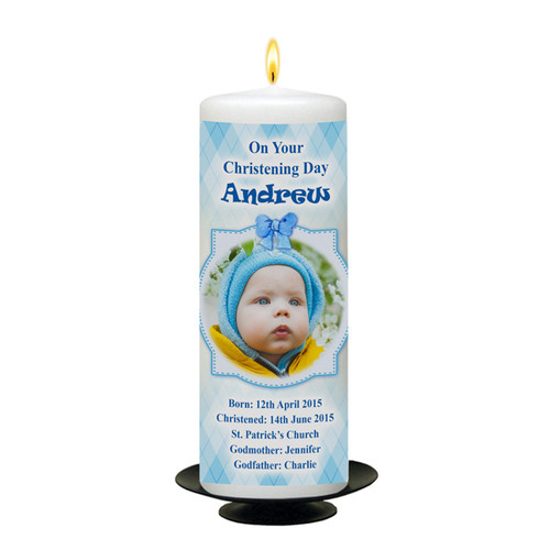 Personalised Teddy & Chair Christening Candle-available in Pink or Blue