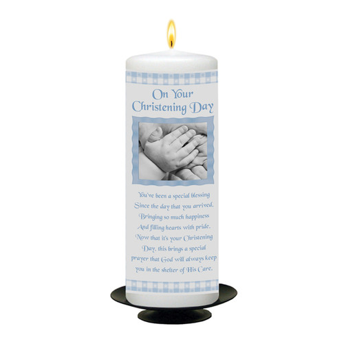 Personalised Gingham Christening Candle-available in Pink or Blue