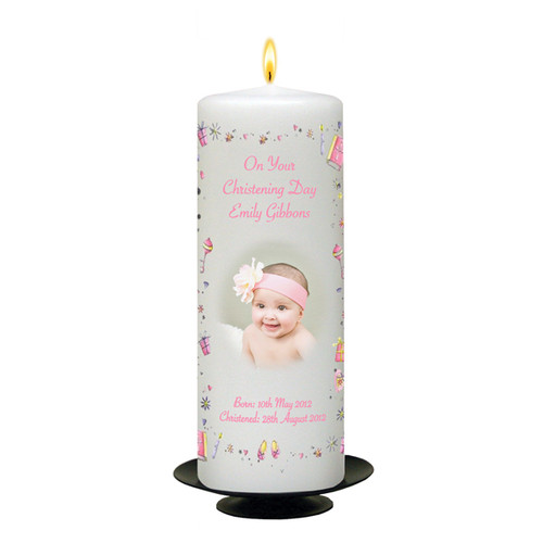 Personalised Stars and Hearts Christening Candle-available in Pink or Blue