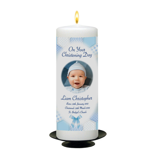 Personalised Dots and Ribbons Christening Candle-available in Pink or Blue