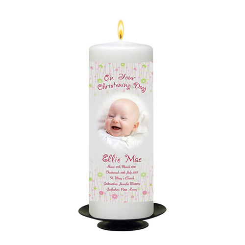 Personalised All Things Nice Christening Candle-available in Pink or Blue