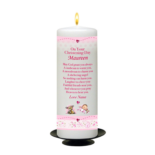 Personalised Hush Teddy Christening Candle-Pink