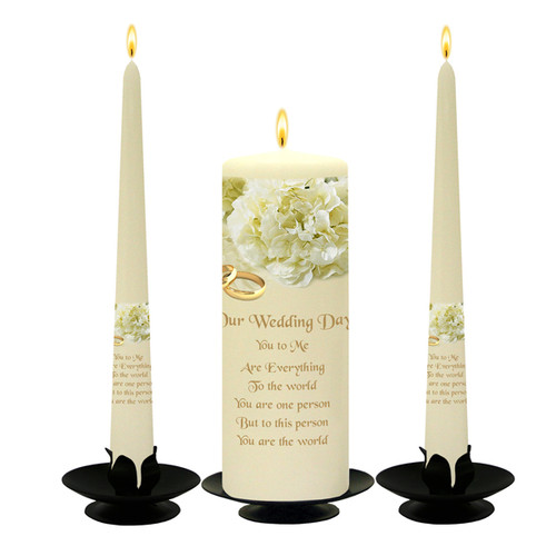 Personalised White Bouquet Wedding Unity Candle Set-available in White or Ivory