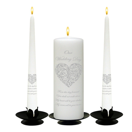 Personalised Vintage Heart Silver Wedding Unity Candle Set-available in White or Ivory