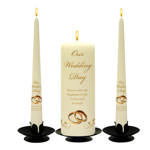 Personalised Gold Rings with Butterflies Wedding Unity Candle Set-available in White or Ivory