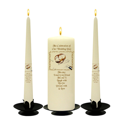 Personalised Gold Rings and Pen Wedding Unity Candle Set-available in White or Ivory