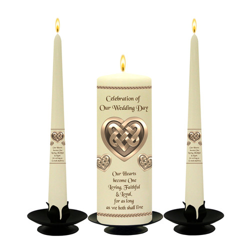 Personalised Bronze Celtic Hearts Wedding Unity Candle Set-available in White or Ivory