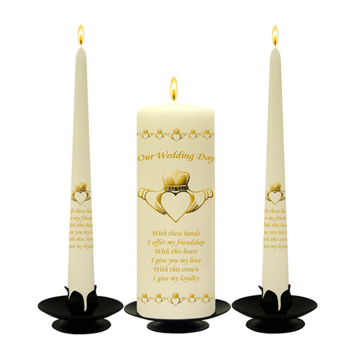 Personalised Claddagh Heart Wedding Unity Candle Set-available in White or Ivory