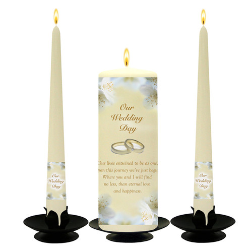 Personalised Gold Orchids and Diamonds Wedding Unity Candle Set-available in White or Ivory
