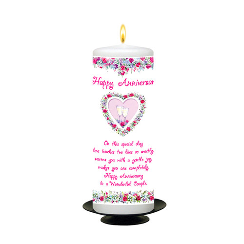 Personalised Floral Champers Anniversary Candle
