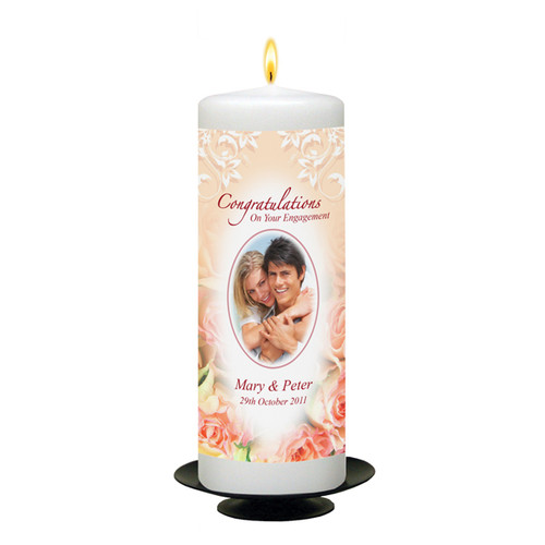 Personalised Engagement Glasses with Rose Candle