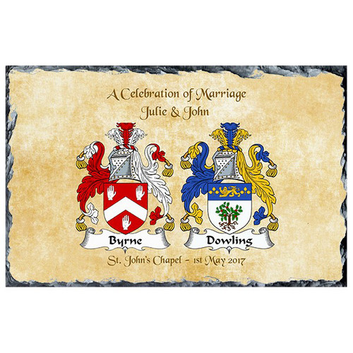 Personalised Family Crest Slate with cream background