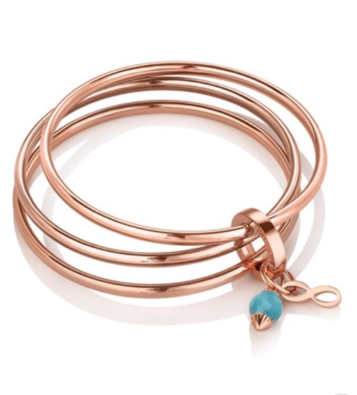 Newbridge silverware triple Rose gold plated bangle. This December Birthstone bangle has a beautiful turquoise coloured glass stone setting and infinity charm to make the perfect gift.