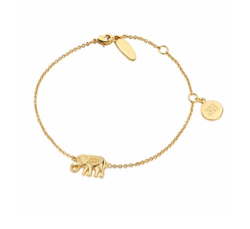 Newbridge Silverware Bracelet with Elephant in a 14k gold plated finish.