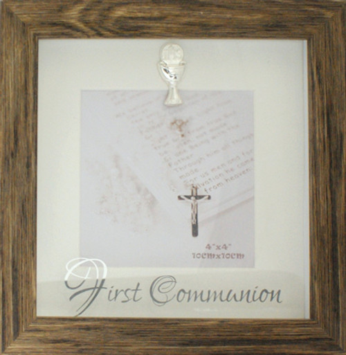 Communion Photo Frame in a wood finish